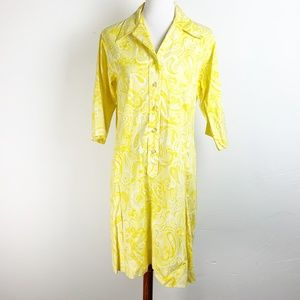 Vintage 60s Mod Dress 1X Shirt Bright Yellow Print